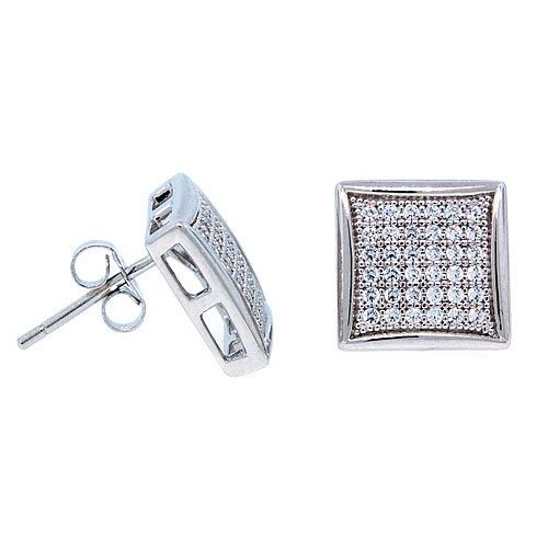 Sterling 925 Silber MICRO PAVE Ohrstecker - WIDE 12mm