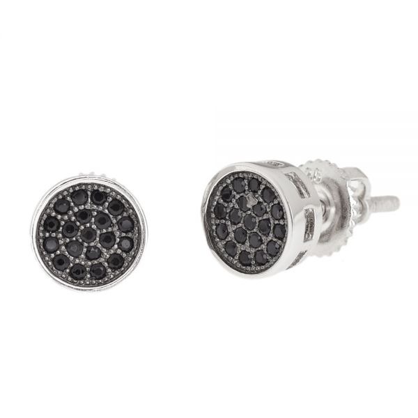 Sterling 925 Silber MICRO PAVE Ohrstecker - ROUND BK 7mm