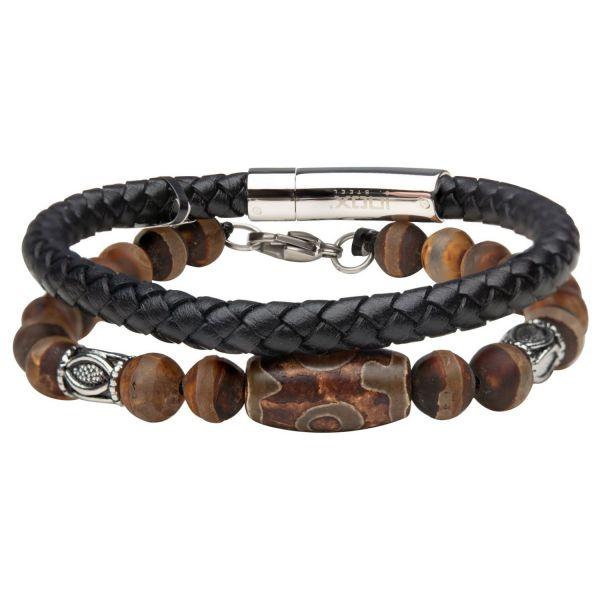 Stax Herren Armbänder - Tibetische Perle und Agate Stein