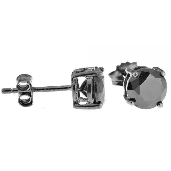 925 Sterling Silber CAST Bling Ohrstecker - rund / schwarz