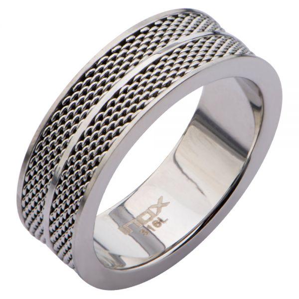 Herrel Edelstahl Ring mit Mesh Design