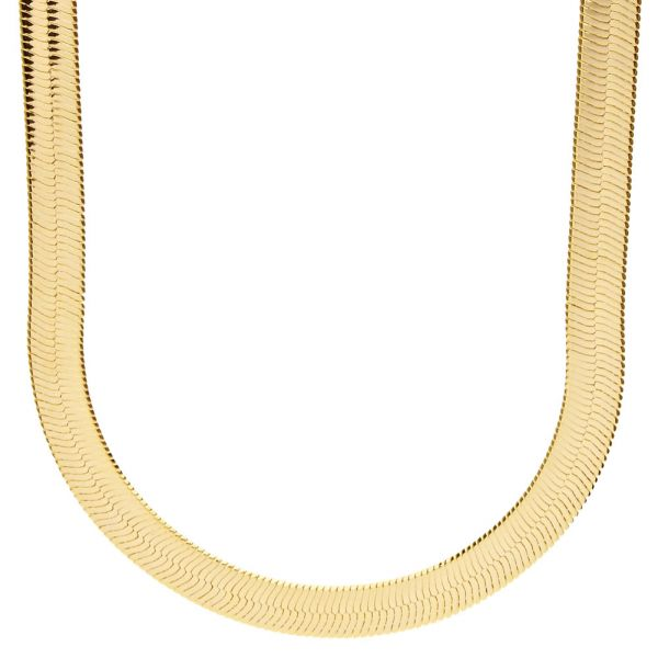 Iced Out Bling HERRING BONE Hip Hop Kette - 8mm gold