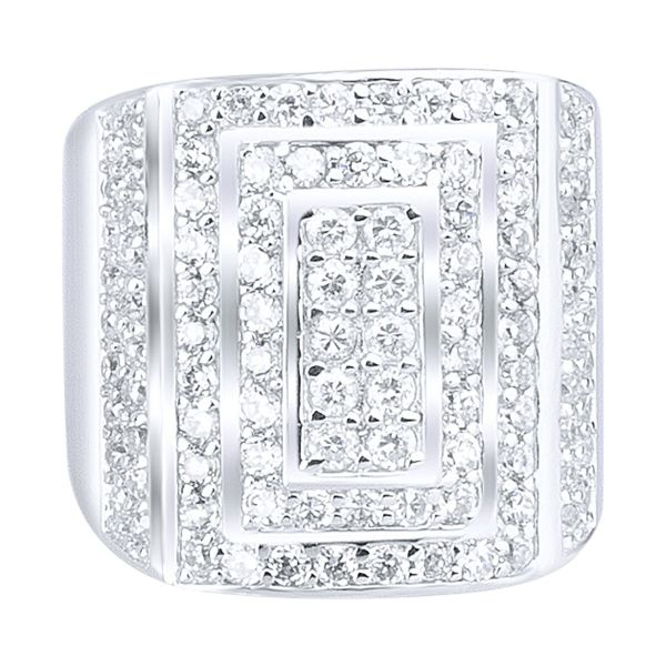 Sterling 925er Silber Pave Ring - LONG ICE