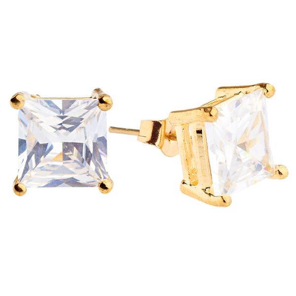 Iced Out Bling Square Zirconia Ear Studs - gold 10mm