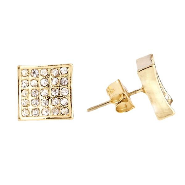 Gold Bling Iced Out Ohrstecker - SQUARE 10mm
