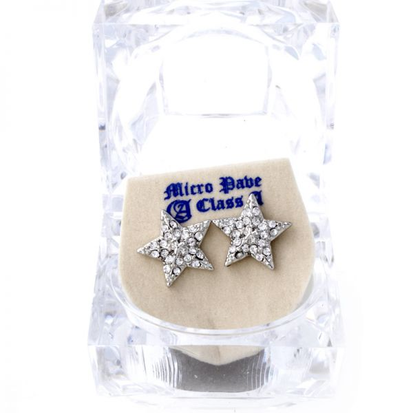 Iced Out Bling Ohrstecker Box - HOT STAR silber