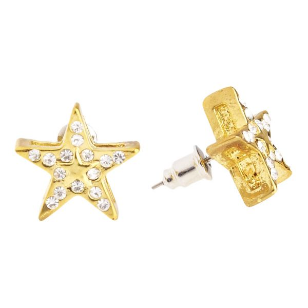 Iced Out Bling Hip Hop Ohrstecker - SUPER STAR 12mm gold