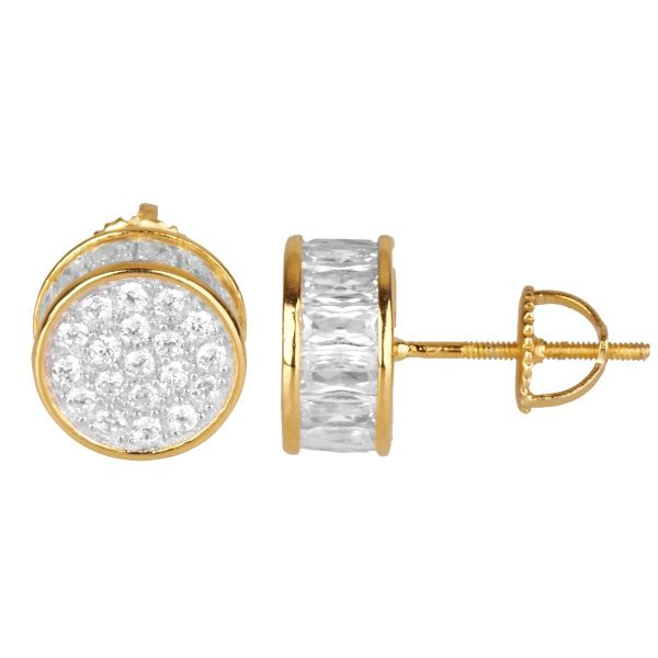 925 Sterling MICRO PAVE Ohrstecker - RUND 10mm gold