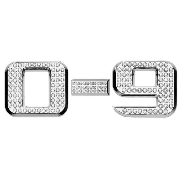 Luxbling Auto Chrom 3D Zahl mit Swarovski Crystals 0-9