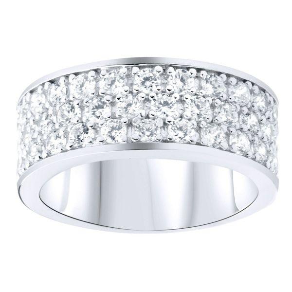 Sterling 925er Silber Pave Ring - 3 Reihen Zirkonia
