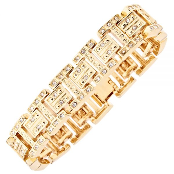 Iced Out Bling Hip Hop Armband - NEW YORK gold