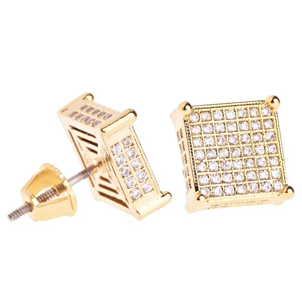 Iced Out Bling Micro Pave Ohrstecker - FAT SIDE 10mm gold