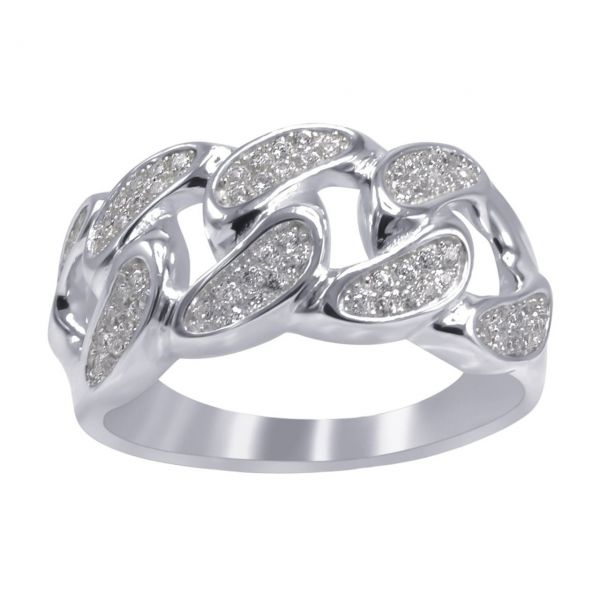 Sterling 925er Silber Micro Pave Ring - CUBAN LINK