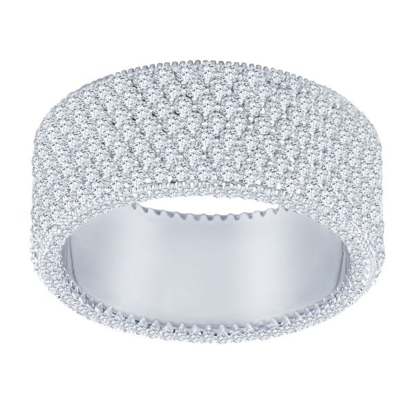Sterling 925er Silber Micro Pave Ring - SEVEN ROW