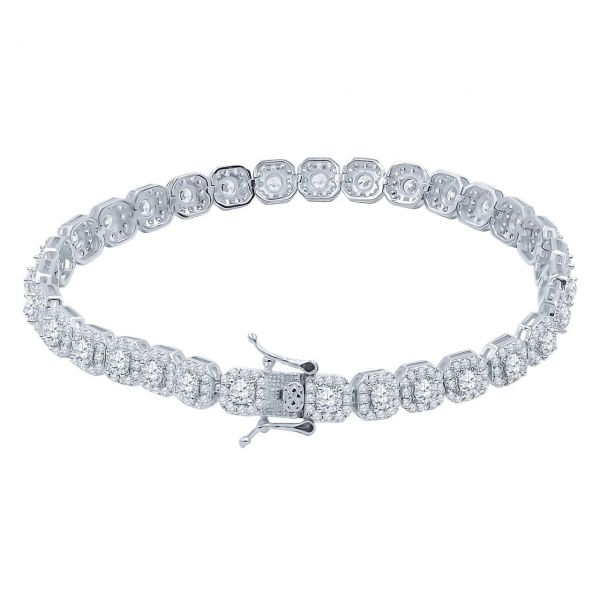 Iced Out 925 Sterling Silver Tennis Bracelet - CLUSTER 6mm