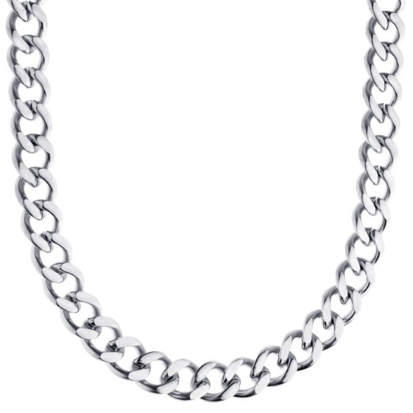 Iced Out Stainless Steel Curb Chain - CUBAN 8mm silver