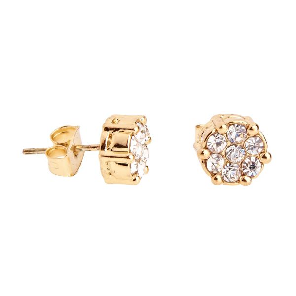 Iced Out Bling Ohrstecker Box - CLUSTER 8mm gold