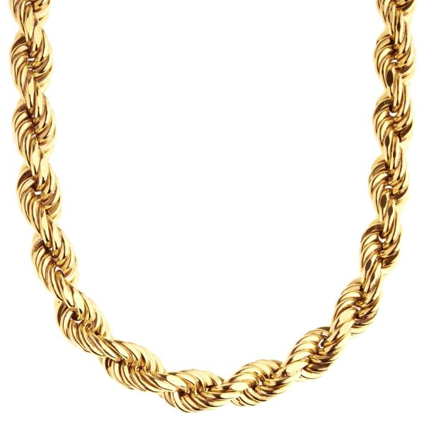 Sterling 925er Silber Kordelkette - HOLLOW ROPE 8mm gold