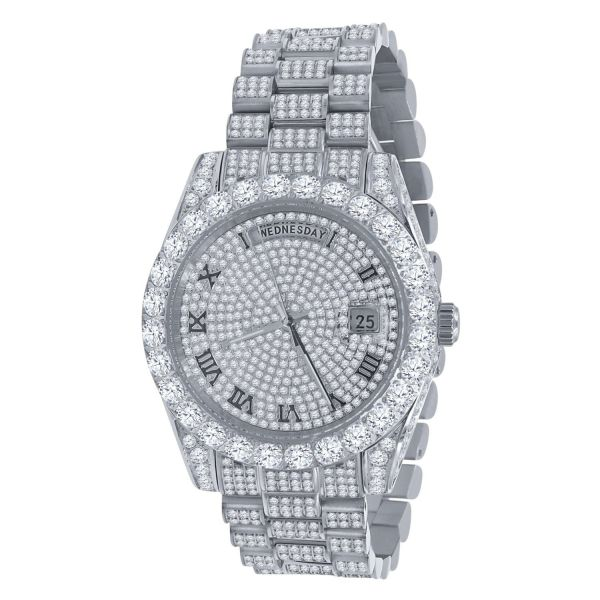 High Quality Iced Out CZ Stainless Steel Watch - silver