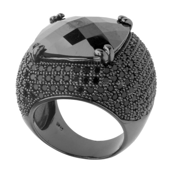 Iced Out Bling Micro Pave Ring - ROSE CUT schwarz