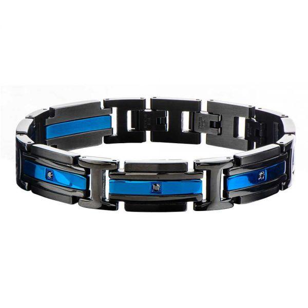 Herre Edelstahl IP Blau Schwarz Armband