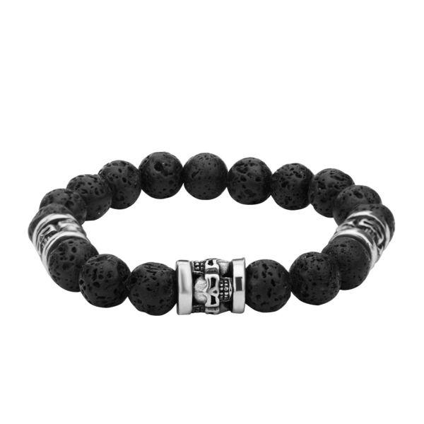 Herren Edelstahl Armband mit Totenkopf und Lava Steinen